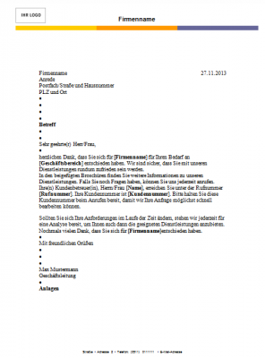 Briefvorlage DIN 5008