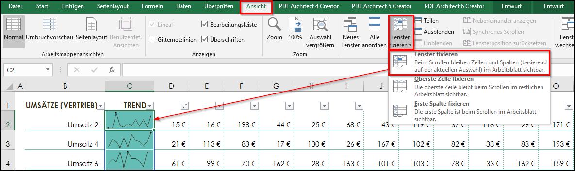 Excel fenster zeilen und spalten fixieren office for Xls fenster fixieren