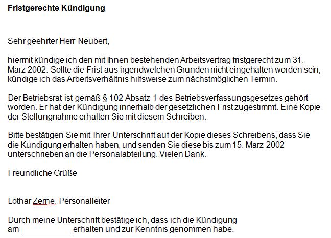 Kündigung Arbeitsvertrag Fristgerecht Office Lernencom