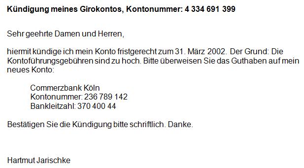 Kündigung Konto Volksbank