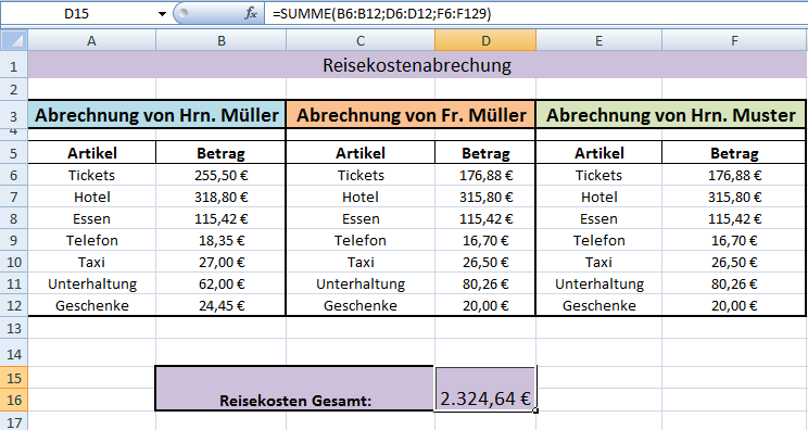 Excel Summenfunktion - Office-Lernen.com