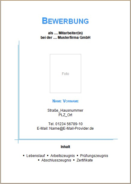 deckblatt 1 - Bewerbung Muster Deckblatt