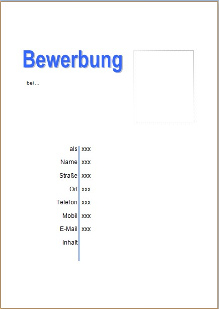 Bewerbung Deckblatt Vorlagen Und Muster