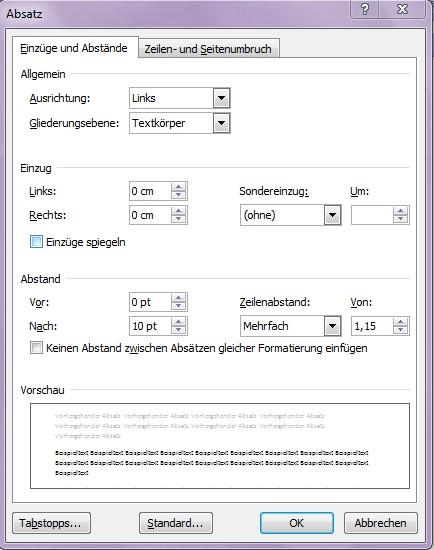 Word Absatzformatierung Office Lernen Com