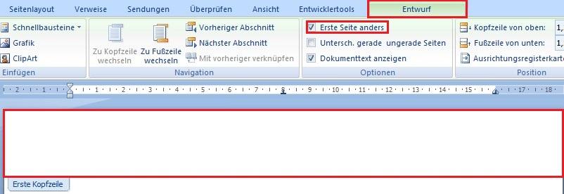 erste seite nicht nummerieren word mac
