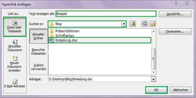 Hyperlink in Excel Tabelle einfügen - Office-Lernen.com