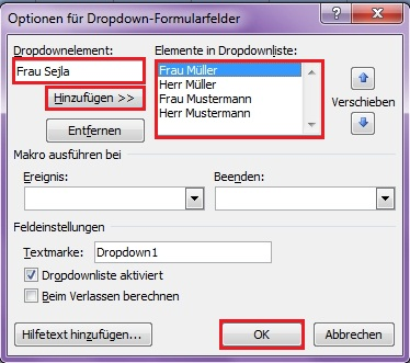 Dropdown-Formularfeld