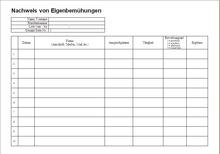 Nachweis über Eigenbemühungen (Bewerbungsnachweis)   Office Lernen.com