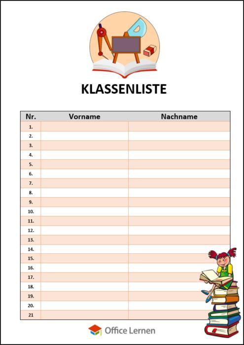 Klassenliste Bücher