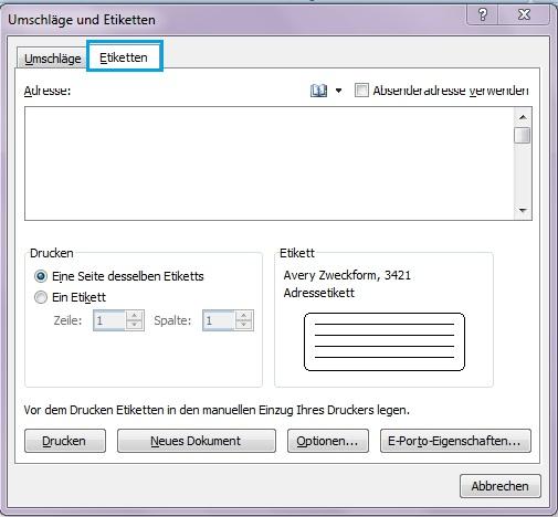 Umschläge und Etiketten in Word erstellen - Office-Lernen.com ...