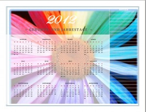 Geburts-und Jahrestage Kalender 2012
