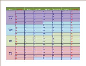 Jahreskalender (Tage von Sonntag bis Samstag)