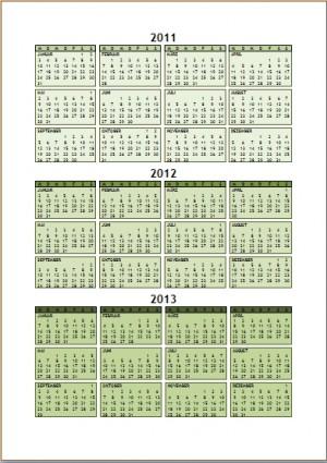 Jahreskalender 2011 bis 2013