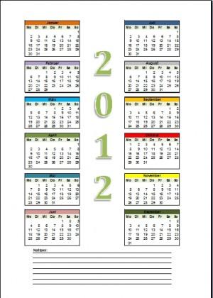 Bunter Jahreskalender 2012