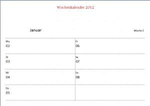 Wochenkalender 2012
