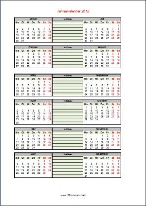 Jahreskalender 2012 mit Notizen
