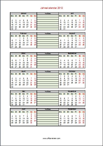 Kalendervorlagen 2012
