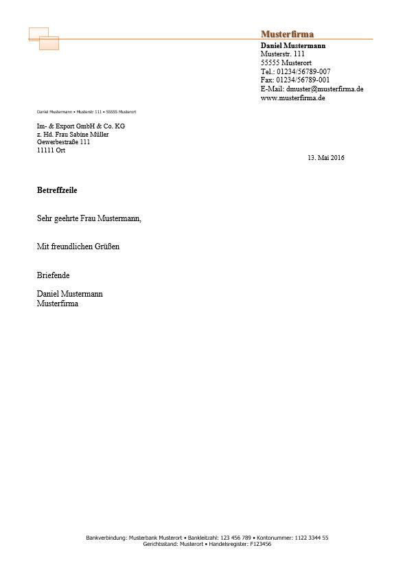 6 Briefkopf Vorlagen Kostenlos Vorlage Fr Eine Rechnung