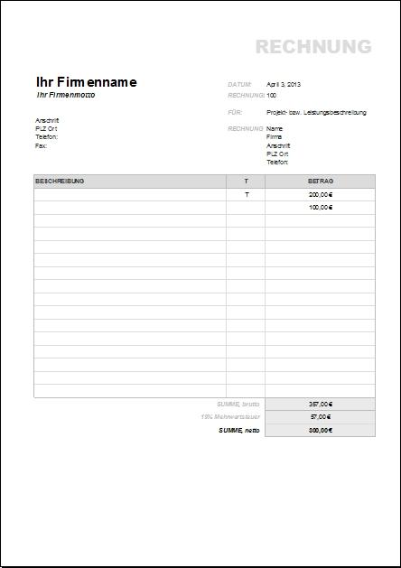 Rechnung Brutto Netto : rechnungsvorlagen und muster zum herunterladen office ~ Themetempest.com Abrechnung