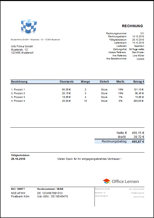 Rechnungsvorlagen Und Muster Zum Herunterladen Office Lernencom