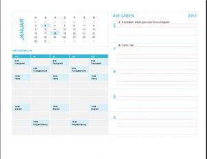 Kalender für die Wochenplanung 2012