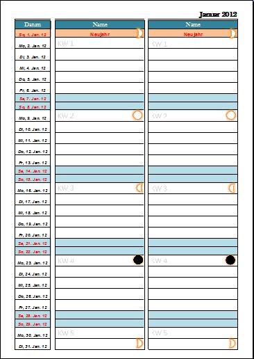 monatskalender 2012 für 2 personen monatskalender 2012 für 2 ...
