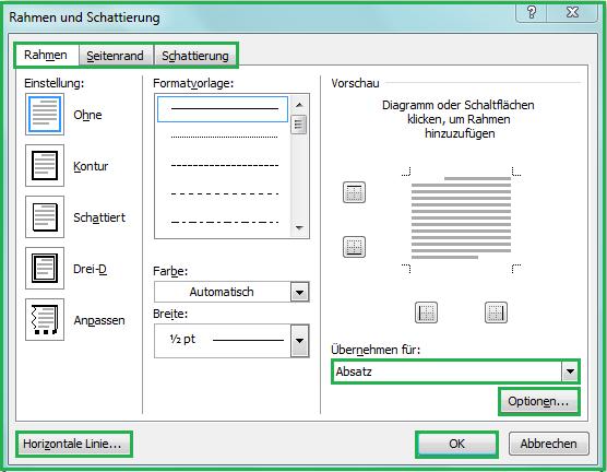 Rahmen, Seitenrand, Linien und Schattierungen in Word-Dokument ...