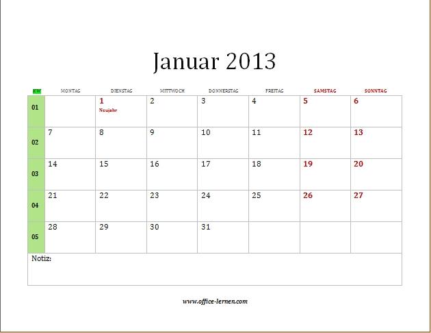 monatskalender 2013 mit kw und feiertagen monatskalender 2013 mit kw ...