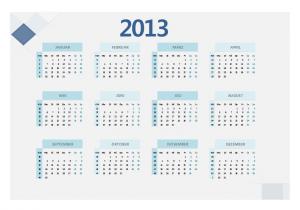 Blauer Jahreskalender 2013 (mit KW)