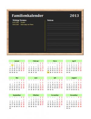 Familienkalender 2013