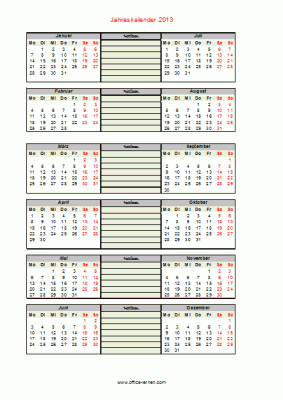 Jahreskalender 2013 mit Notizen