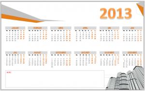 Jahreskalender 2013 (mit Notizfeld)
