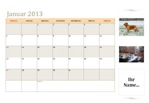 Monatskalender Sonntag bis Samstag 2013 (mit Platz für Ihre Bilder)