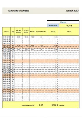 Arbeitszeitnachweis mit Gehaltsrechner