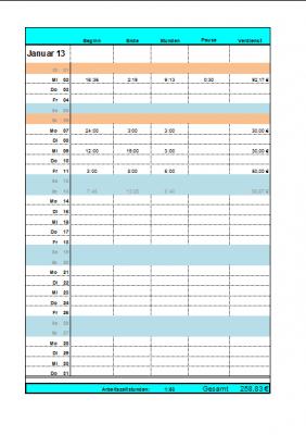 Arbeitszeitnachweis mit Verdienst und Feiertagen