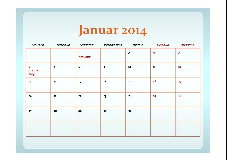 Kalendervorlagen Januar 2015 | New Calendar Template Site