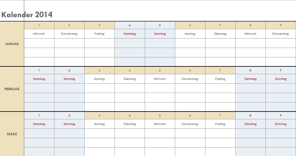 Kalendervorlagen 2017 Excel - newcalendar