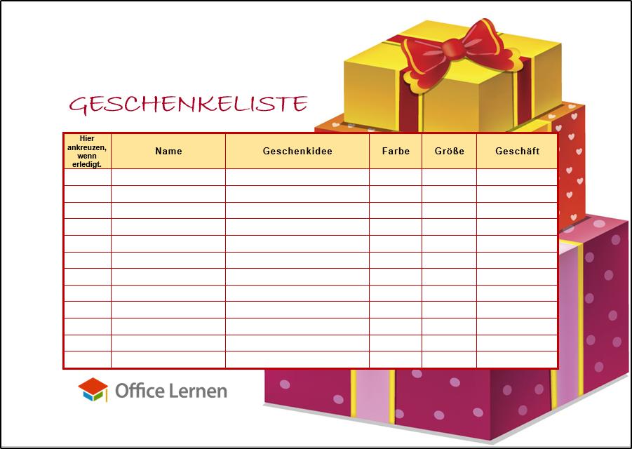 Kostenlose Weihnachtsgeschenke.Geschenkeliste Geschenke Office Lernen Com