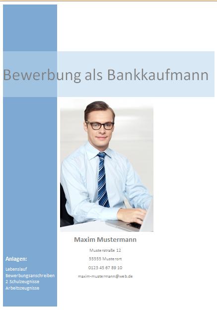 Bewerbungsdeckblatt Bankkaufmann