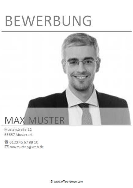 Bewerbungsdeckblatt Schwarz-Weiß