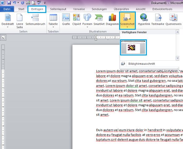 Screenshot Und Bildschirmausschnitt In Word Dokument Einfügen