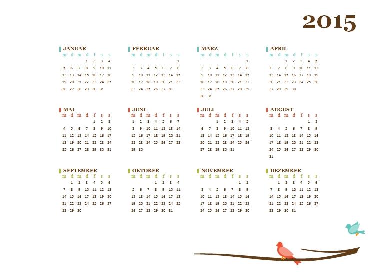Großzügig Monatskalender 2015 Vorlage Zeitgenössisch ...