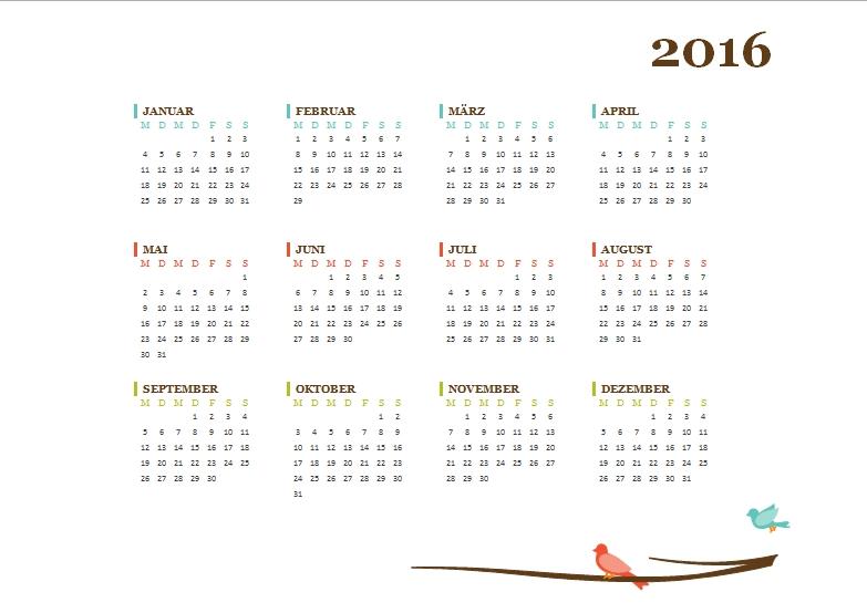Kostenlose Kalendervorlagen 2016 - Office-Lernen.Com