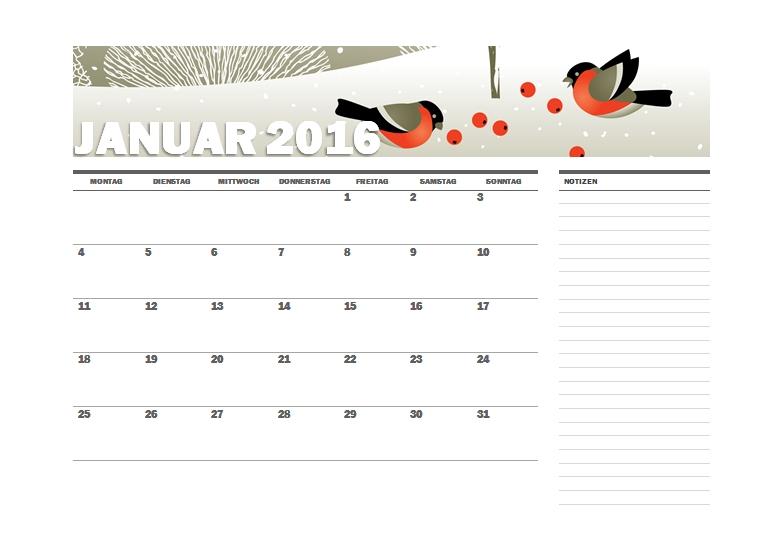 vogel monatskalender 2016 vogel monatskalender 2016