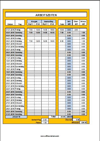 Arbeitszeitnachweis 2016 (Monat für Monat) - Office-Lernen.com