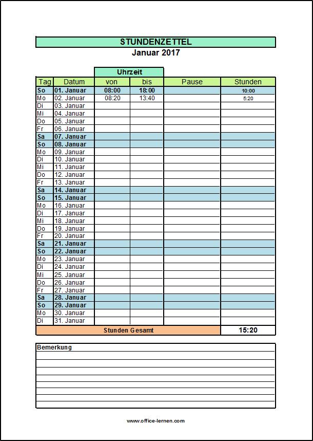 Arbeitszeitnachweis 2021 Excel