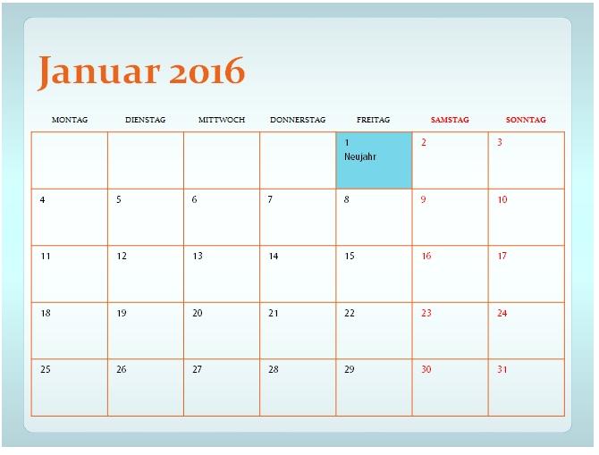 PowerPoint Kalendervorlagen 2016 - Office-Lernen.com