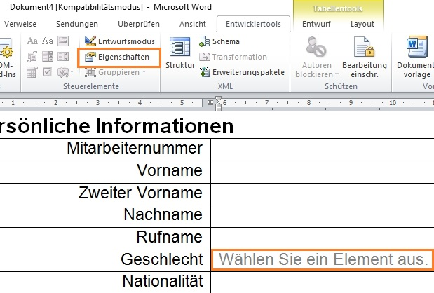 Dropdown Liste In Word Erstellen Office Lernencom