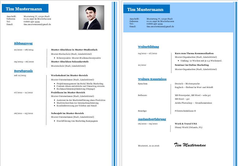 Kostenlose Lebenslauf Vorlagen   Office Lernen.com