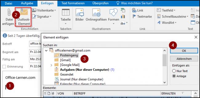 Outlook-Element einfügen